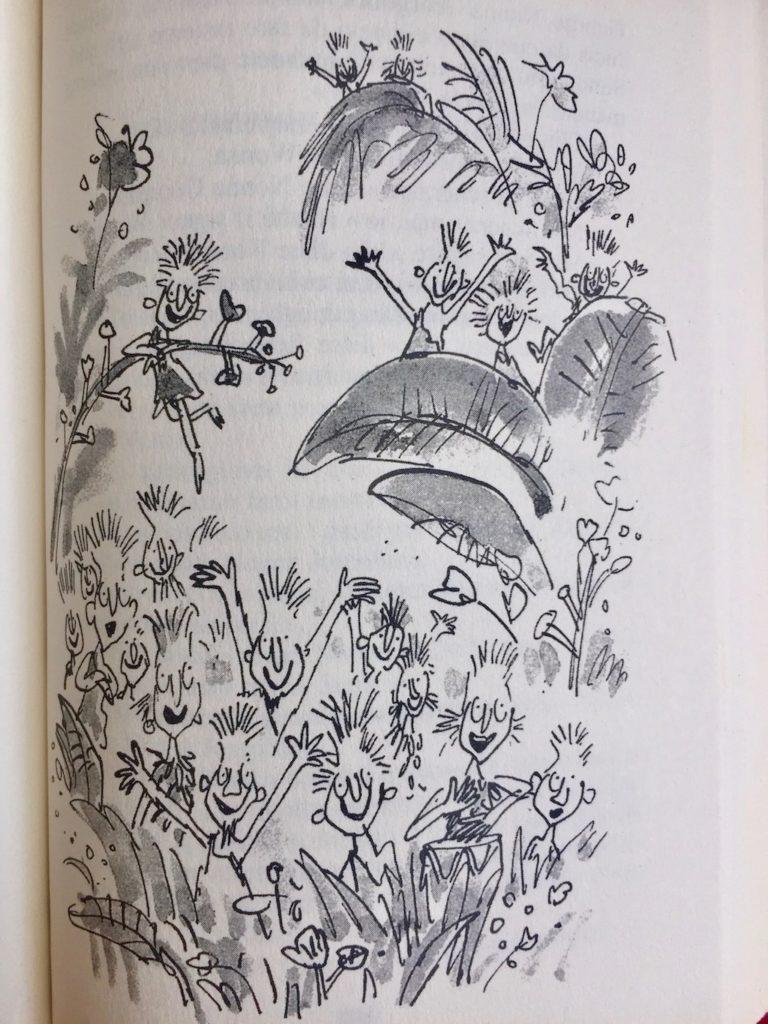 Illustrazione interna del libro Il grande ascensore di cristallo di Roald Dahl