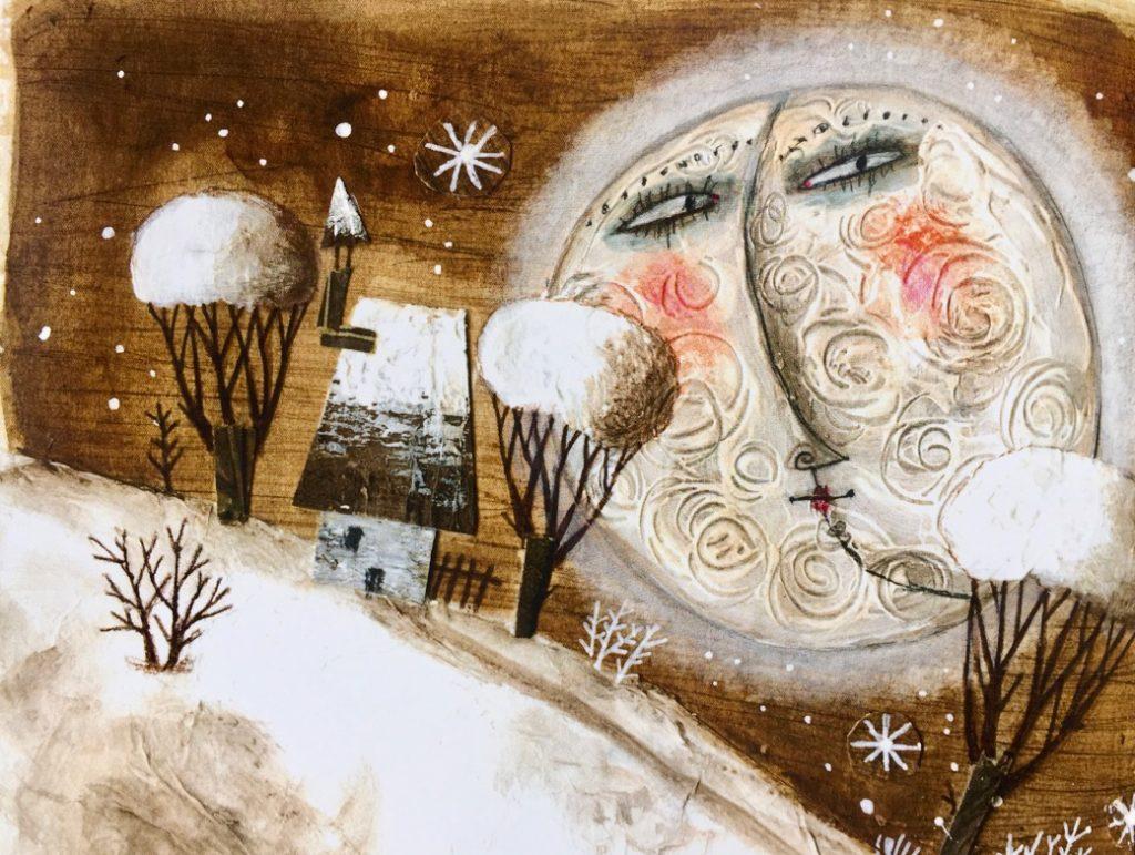 Paesaggio invernale con una casetta ed una grande luna sullo sfondo