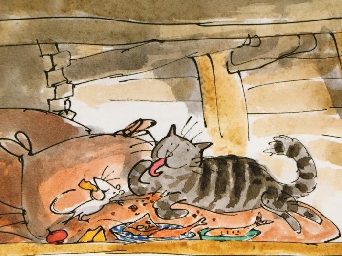 Il gatto e i topi fanno amicizia.