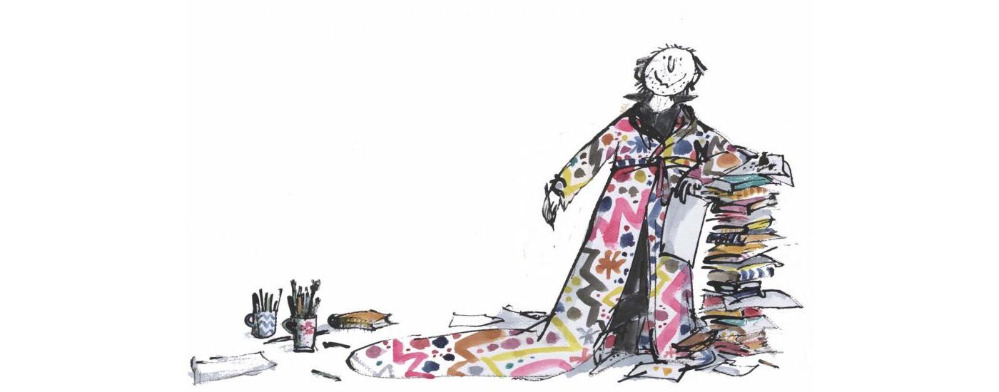 Illustrazione che ritrae Quentin Blake, disegnatore di libri per bambini