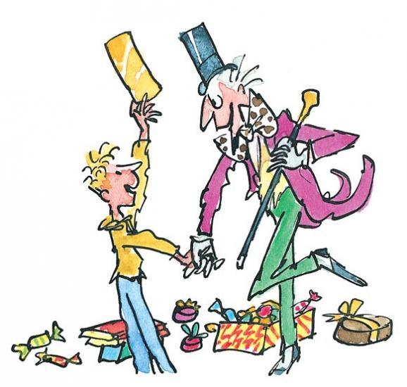 Illustrazione della fabbrica di cioccolato con Willy Wonka e Charlie
