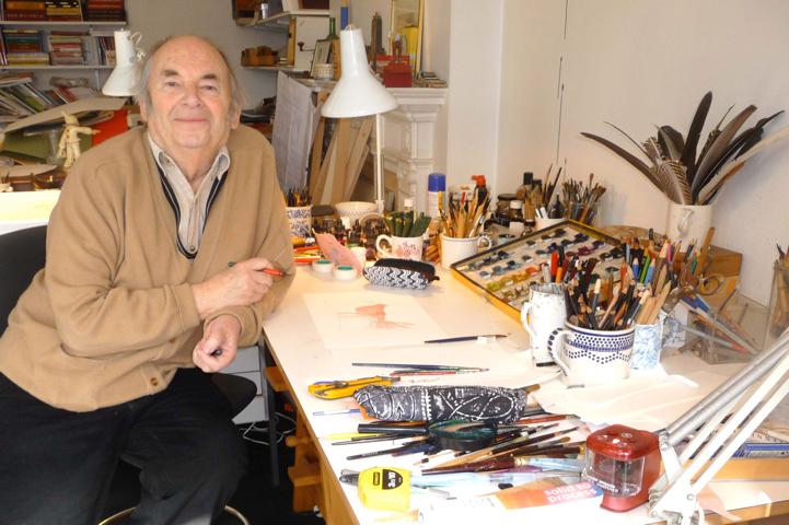 Quentin Blake al lavoro come illustratore